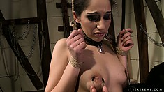Brunette gets tied up by her black master as he plays with her