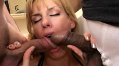 Crazy sex-starved MILF takes a massive pecker in her cumhole