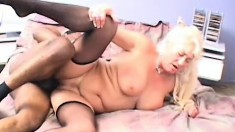 Lustful blonde cougar in sexy stockings Dana is addicted to black cock