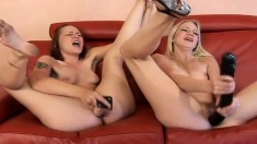 Kinky lesbian bitches make each other cum with their finest toys