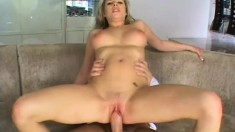 Adorable blonde with amazing tits surrenders her peach to a hard cock
