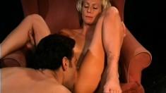 Horny blonde schoolgirl seduces the principal and fucks his hard prick