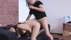 Frisky young brunette moans while riding a stranger's vicious wang
