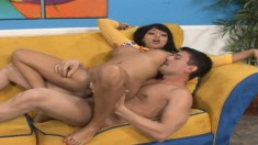 Big breasted brunette getting her feet licked and her pussy fucked