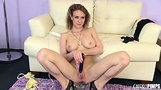 Perky little brunette Madison Fox fingers her slit then toys it again