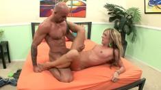 Amy Brooke enjoys bouncing on a bald guy's impressive sausage