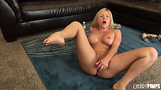 Krissy Lynn oils her supple curves up and rides on a sex toy