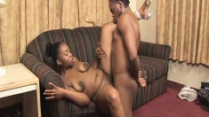 Buxom ebony chick with a big booty satisfies her lust for black meat