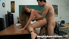 Darla Crane's huge fake hooters bounce out of control as she gets nailed in the classroom