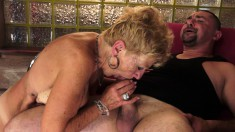 Blonde mature woman can't get enough of this stallion's massive python
