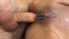Exotic and lustful girl has a huge dick exploring her fiery anal hole