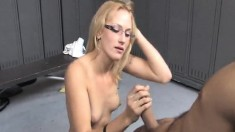 Sultry blonde with a divine ass Jaicey blows a cock in the locker room