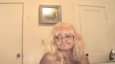 Mature blonde Patsy makes a stick burst with pleasure with her mouth