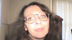 Wild babe with glasses Connie talks about her life and blows a shaft
