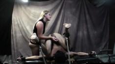 Sultry blonde mistress Ashley Edmonds gives a kinky guy a wild handjob