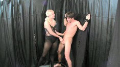 Provoking blondes Vanessa Cage and JC Simpson have fun with Lance Hart