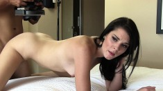 Alluring brunette gives a sensual blowjob and receives a deep fucking