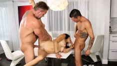 Ravishing Brunette Teen With Perky Boobs Gets Fucked By Two Older Men