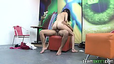 Bubble ass brunette is giving away her magnificently tasty cunt