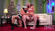 Trinity St Clair and Ava Addamsin a holiday threesome riding cock