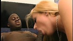 Fascinating Blonde With Big Tits And A Lovely Ass Sucks And Fucks A Huge Black Cock