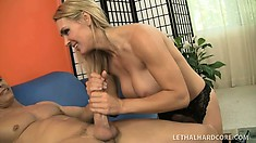 Tanya Tate shows off her skills giving out rimjobs and handjobs