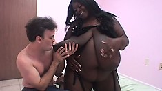 He wanted an interracial experience, he found a BBW black chick