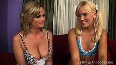 A pigtailed blonde and a sexy cougar slowly strip and show their wares