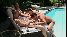 Eager to please pool boy takes it deep and raw from his hung boss