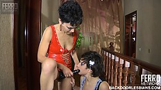 Lusty lesbians Lottie and Viola play maid and mistress with a strap-on