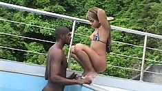 Juicy black babe with petite tits gets fucked hard at the pool