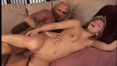Sexy slim blonde has a tattooed stud fucking her pussy like she desires