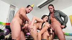 This swingers party gets off to a good start with some foreplay