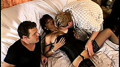 Hubby watches his big tit wife get fucked by two horny dudes and get titty cum