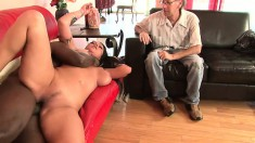 Busty inked slut Nikita Denise bangs black man with Adam Wood watching