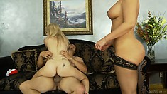 Mom and daughter in a hot threesome riding the boyfriend's bone