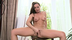 Glorious solo performer Silvia shows how wet she is right know