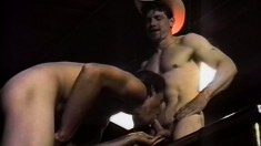 Horny gay boy gets his long cum-stick serviced by gentle guy
