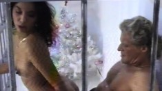 Christmas in jail with a surprise present of a hot brunette to fuck