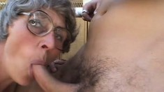 Sex-starved granny gets into a threesome with a couple of pricks