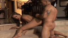 Blonde gets a big black dick to eat and pound her cock starved hole
