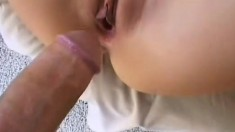 Anna gets fucked in all three holes then takes a facial from him