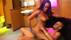 Stunning ebony girl with a perfect booty welcomes a huge black rod in her wet peach