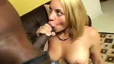 Wonderful blonde with a marvelous ass and sexy tits feeds her passion for black dick