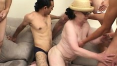 Fat old lady with glasses gets her puggy body gangbanged raw