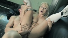 Long-haired vixen bends over to let her lover thrust it up her cumhole
