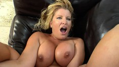 Voluptuous blonde milf Allie Foster has a young stud pounding her twat