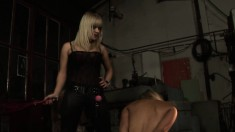 Nasty Blonde Enjoys Playing With This Young Hottie's Tied Up Body
