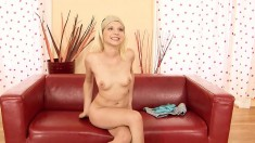 Sweet blonde broad can't help but moan while having her cooch fingered