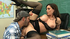 Professor Diamond Foxxx sees her student staring at her tits and lets him see more